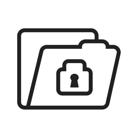 confidential: Locked file, folder, confidential icon vector image. Can also be used for banking, finance, business. Suitable for web apps, mobile apps and print media. Illustration