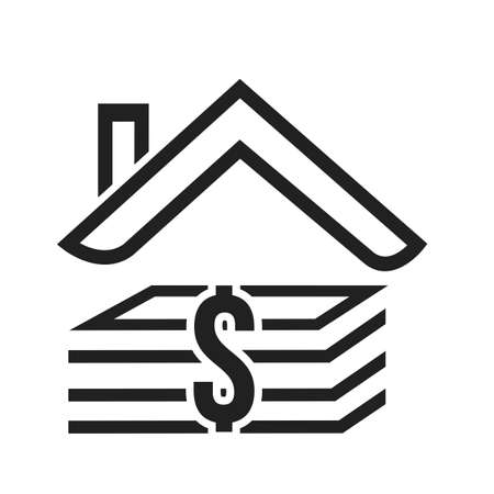 mobile banking: House, loan, money, real estate icon vector image. Can also be used for banking, finance, business. Suitable for web apps, mobile apps and print media. Illustration