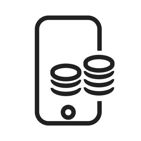 banking and finance: Smart phone, online payment, coins icon vector image. Can also be used for banking, finance, business. Suitable for web apps, mobile apps and print media.
