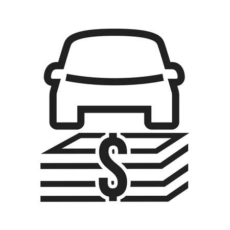 dealership: Car, vehicle, dollar, currency icon vector image. Can also be used for banking, finance, business. Suitable for web apps, mobile apps and print media.