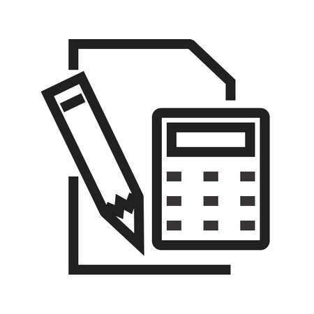 電卓、鉛筆、メモ帳のアイコン ベクトル画像。銀行、金融、ビジネスの使用もできます。Web アプリ、携帯アプリ、印刷メディアに適しています。