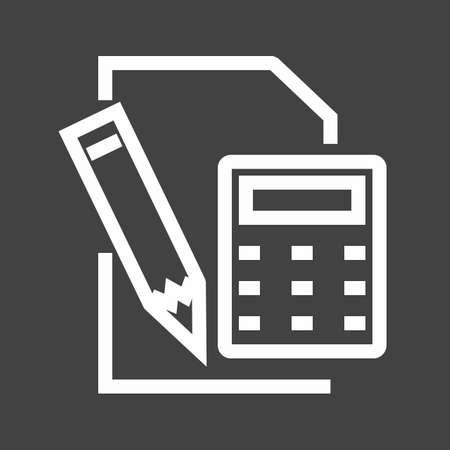 banking and finance: Calculator, pencil, notepad icon vector image. Can also be used for banking, finance, business. Suitable for web apps, mobile apps and print media. Illustration