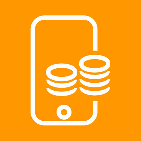 mobile banking: Smart phone, online payment, coins icon vector image. Can also be used for banking, finance, business. Suitable for web apps, mobile apps and print media.