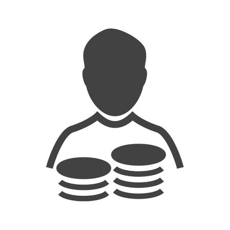 Accountant, coins, man, cash icon vector image. Can also be used for banking, finance, business. Suitable for web apps, mobile apps and print media.