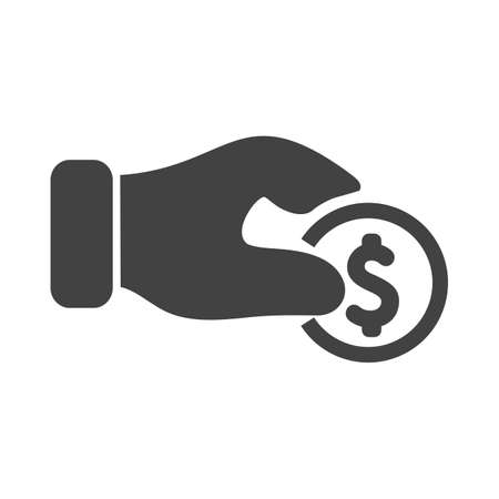 Hand, coin, currency icon vector image. Can also be used for banking, finance, business. Suitable for web apps, mobile apps and print media. Illustration
