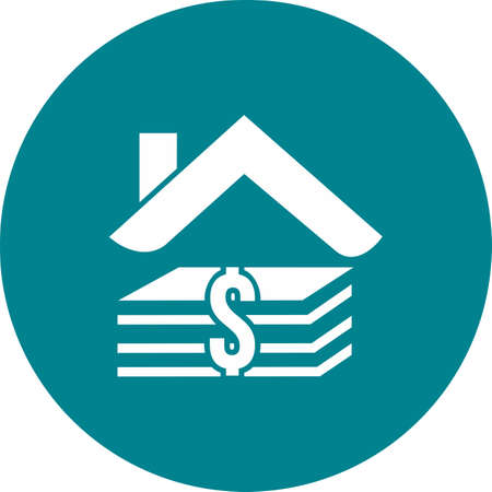 banking and finance: House, loan, money, real estate icon vector image. Can also be used for banking, finance, business. Suitable for web apps, mobile apps and print media. Illustration