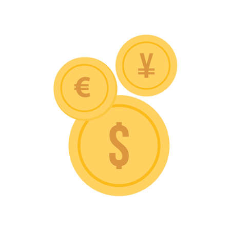 euro, yen, dollar coins icon