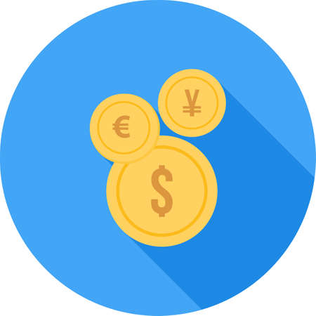 dollar icon: euro, yen and dollar icon