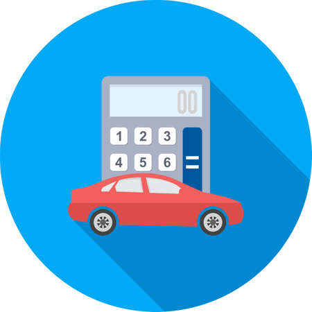 transported: Car and calculator icon Illustration