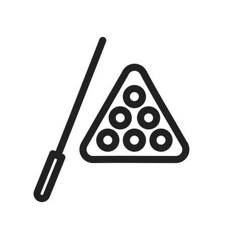 Billiard, stick and ball icon