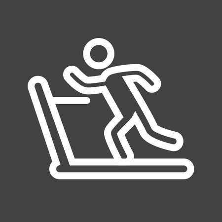 run out: Running on treadmill icon Illustration