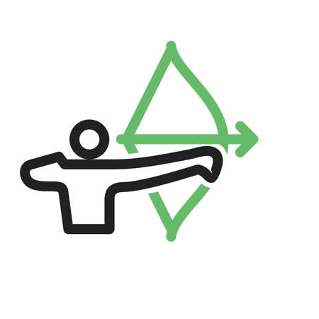 longbow: Archer, arrow, bow, target, shoot icon vector image. Can also be used for sports, fitness, recreation. Suitable for web apps, mobile apps and print media.