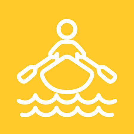 row boat: Boat, water, rowing, row icon vector image. Can also be used for sports, fitness, recreation. Suitable for web apps, mobile apps and print media.