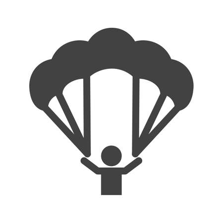 deceleration: Paragliding, glider, parachute, jumping icon vector image. Can also be used for sports, fitness, recreation. Suitable for web apps, mobile apps and print media. Illustration