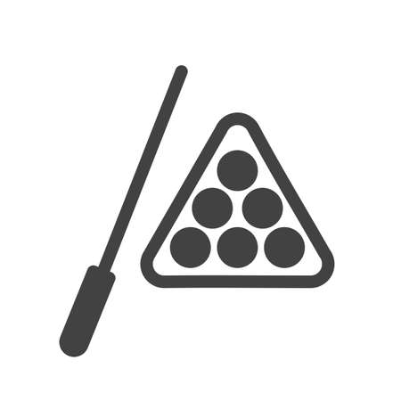 cue sticks: Billiard, stick, snooker, ball icon vector image. Can also be used for sports, fitness, recreation. Suitable for web apps, mobile apps and print media.