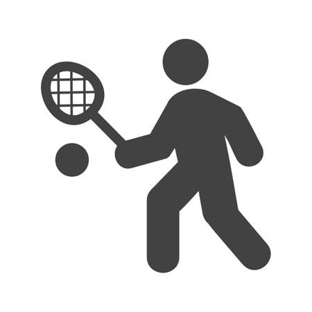 individual sports: Tennis, player, racket, ball icon vector image. Can also be used for sports, fitness, recreation. Suitable for web apps, mobile apps and print media. Illustration
