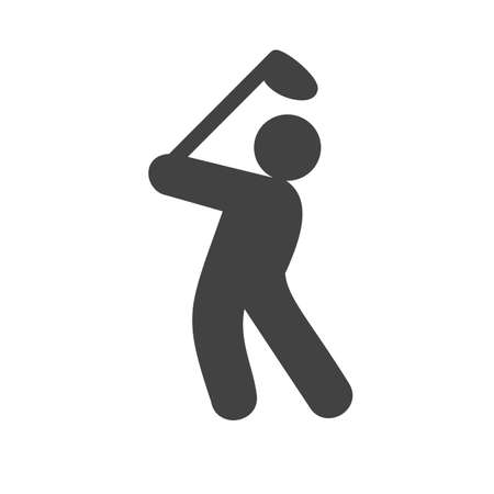 fitness goal: Golf, ball, stick, player, goal icon vector image. Can also be used for sports, fitness, recreation. Suitable for web apps, mobile apps and print media. Illustration