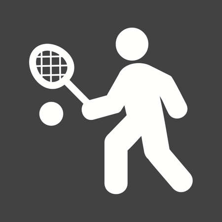 테니스, 선수, 라켓, 공, 스포츠 아이콘 벡터 이미지. 피트니스, 레크리에이션 용으로도 사용할 수 있습니다. 웹 앱, 모바일 앱 및 인쇄 매체에 적합합니