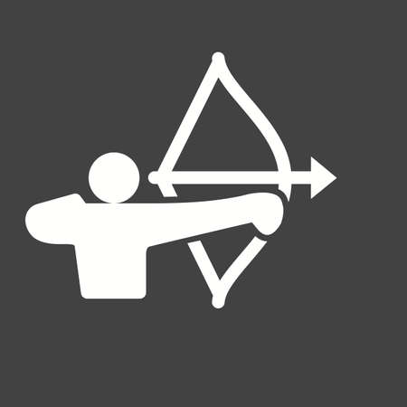 target practice: Archer, arrow, bow, target, shoot, sports icon vector image. Can also be used for fitness, recreation. Suitable for web apps, mobile apps and print media.