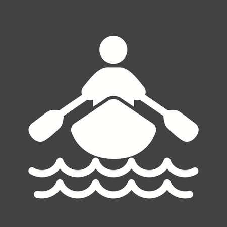 rowboat: Barco, acu�tico, remo, fila, icono deportivo vector de imagen. Tambi�n se puede utilizar para la aptitud, la recreaci�n. Adecuado para aplicaciones web, aplicaciones m�viles y los medios impresos.