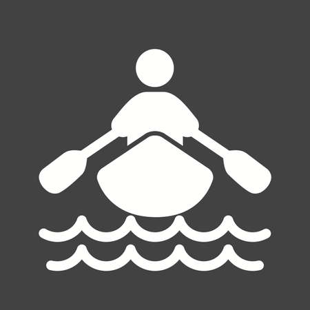 row boat: Boat, water, rowing, row, sports icon vector image. Can also be used for fitness, recreation. Suitable for web apps, mobile apps and print media. Illustration