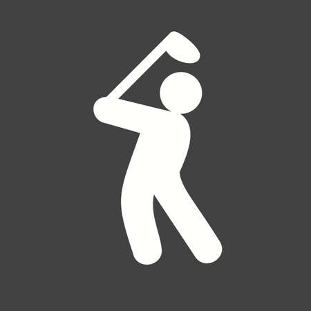 fitness goal: Golf, ball, stick, player, goal, sports icon vector image. Can also be used for fitness, recreation. Suitable for web apps, mobile apps and print media.