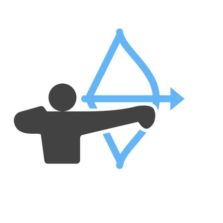 longbow: Archer, arrow, bow, target, shoot, sports icon vector image. Can also be used for fitness, recreation. Suitable for web apps, mobile apps and print media.