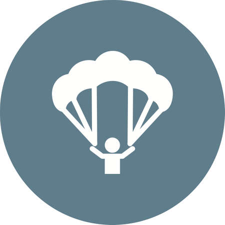sky dive: Paragliding, glider, parachute, jumping, sports icon vector image. Can also be used for fitness, recreation. Suitable for web apps, mobile apps and print media.