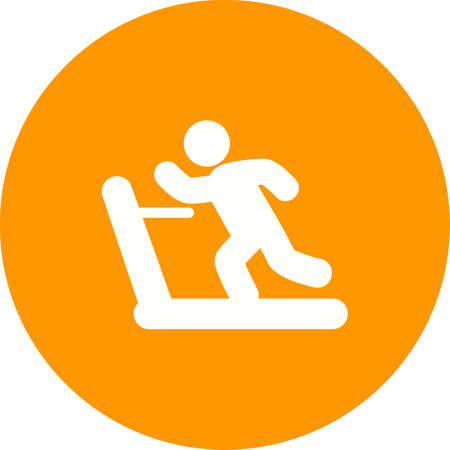 endurance: Running, treadmill, exercise, gym, sports icon vector image. Can also be used for fitness, recreation. Suitable for web apps, mobile apps and print media. Illustration