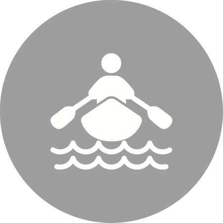 보트, 물, 조정, 행, 스포츠 아이콘 벡터 이미지입니다. 또한 피트니스, 레크리에이션 사용할 수 있습니다. 웹 앱, 모바일 앱 및 인쇄 매체에 적합합니다