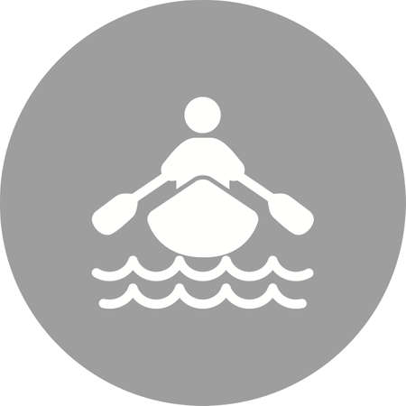row: Boat, water, rowing, row, sports icon vector image. Can also be used for fitness, recreation. Suitable for web apps, mobile apps and print media. Illustration