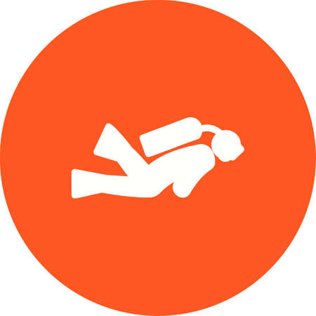scuba diver: Diving, scuba diver, underwater, diver, sports icon vector image. Can also be used for fitness, recreation. Suitable for web apps, mobile apps and print media. Illustration