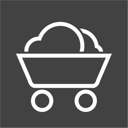 coal mine: Coal, mine, trolley icon vector image. Can also be used for energy and technology. Suitable for web apps, mobile apps and print media. Illustration