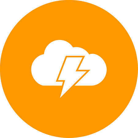 thunder cloud: Cloud, thunder, bolt icon vector image. Can also be used for energy and technology. Suitable for web apps, mobile apps and print media.