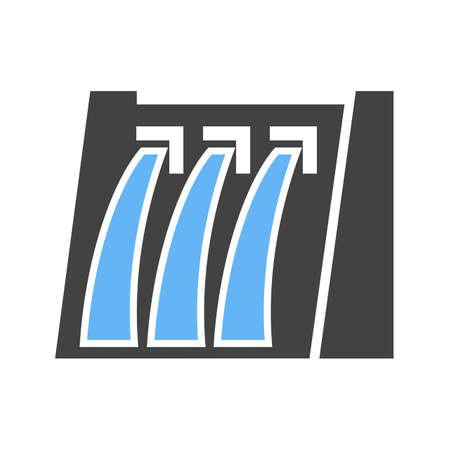 Dam, water, hydro-elektrische pictogram vector afbeelding. Kan ook worden gebruikt voor energie en technologie. Geschikt voor web apps, mobiele apps en gedrukte media.