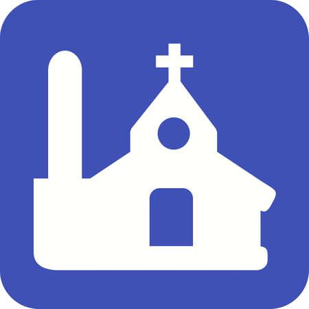 教会、クリスチャン、建物アイコンのベクター画像。不動産、財産、土地及び建物の使用もできます。携帯アプリ、web アプリ、印刷メディアに適し
