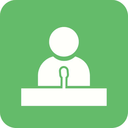 Speaker, guest, lecture, speech icon vector image. Can also be used for education, academics and science. Suitable for use on web apps, mobile apps, and print media. Illusztráció