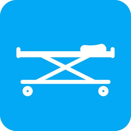 stretcher: stretcher, bed, rescue icon vector image. Can also be used for healthcare and medical. Suitable for mobile apps, web apps and print media.