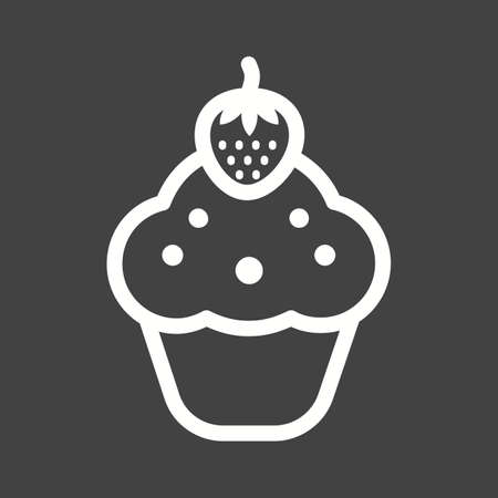 tarta de frutillas: Cupcake, strawberry, cake icon vector image. Can also be used for sweets and confectionery. Suitable for use on web apps, mobile apps and print media. Vectores