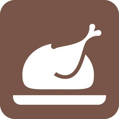 crisp: Chicken, roasted, turkey icon vector image.