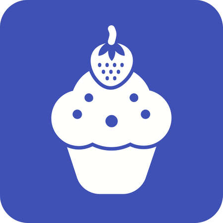 strawberry cake: Cupcake, strawberry, cake icon vector image.  Illustration