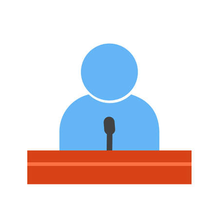guests: Speaker, guest, lecture, speech icon vector image. Can also be used for education, academics and science. Suitable for use on web apps, mobile apps and print media.