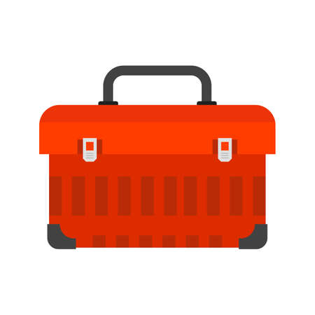 Toolbox, kit, toolkit icon vector image. Can also be used for construction, interiors and building. Suitable for use on web apps, mobile apps and print media. Vectores
