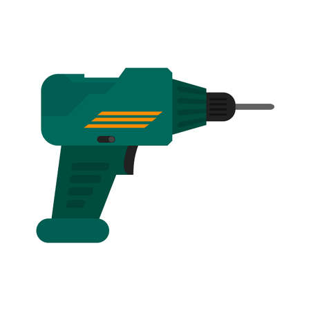 jackhammer: Drill, drill machine, jackhammer icon vector image. Can also be used for construction, interiors and building. Suitable for use on web apps, mobile apps and print media. Illustration