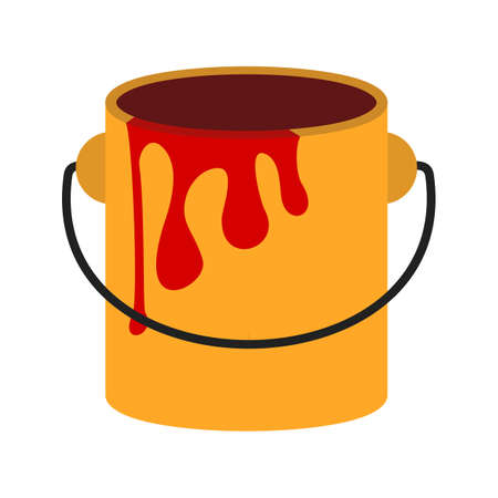 symol: Paint box, bucket, paint bucket icon vector image. Can also be used for construction, interiors and building. Suitable for use on web apps, mobile apps and print media.