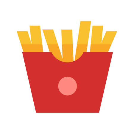 eatables: Fries, snack, potato icon vector image. Can also be used for eatables, food and drinks. Suitable for use on web apps, mobile apps and print media