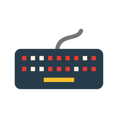 typing on keyboard: Keyboard, computer, typing icon vector image. Can also be used for computer and hardware. Suitable for use on web apps, mobile apps and print media. Illustration