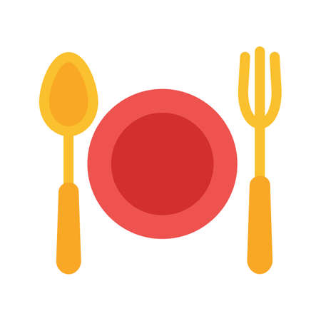 Plate, fork, knife icon vector image. Can also be used for eatables, food and drinks. Suitable for use on web apps, mobile apps and print media