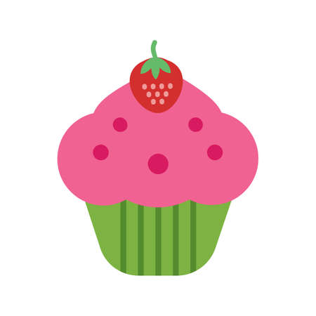 strawberry cake: Cupcake, strawberry, cake icon vector image. Can also be used for sweets and confectionery. Suitable for use on web apps, mobile apps and print media. Illustration