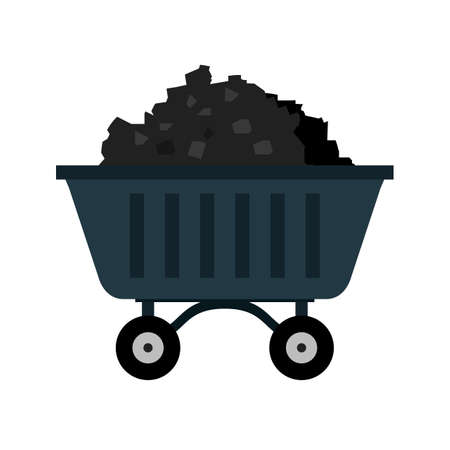coal: Coal, mine, trolley icon vector image. Can also be used for energy and technology. Suitable for web apps, mobile apps and print media. Illustration